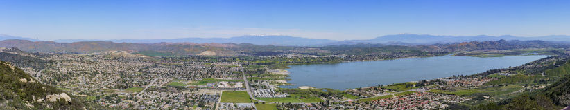 Aerial view of Lake Elsinore. And the cityscape, California Stock Photography