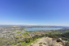 Aerial view of Lake Elsinore. And the cityscape, California royalty free stock photo
