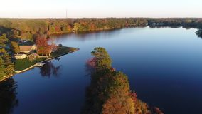 Aerial View Lake and Fall Colors.  stock video footage