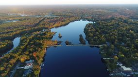 Aerial View Lake and Fall Colors.  stock video