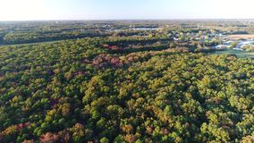 Aerial View Lake and Fall Colors stock video