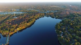Aerial View Lake and Fall Colors stock footage