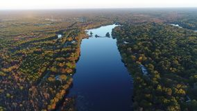 Aerial View Lake and Fall Colors stock video footage