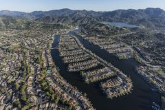 Westlake Village California Lake Homes Aerial royalty free stock photo