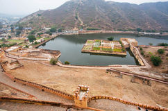 Aerial view on lake and garden of ancient Amber Fort Royalty Free Stock Image