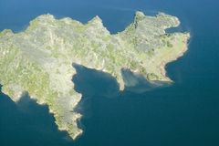 Aerial view of lake island within Lake Casitas in spring in Ventura County, Ojai, California Stock Image