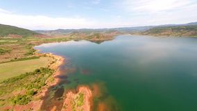 Aerial view of lake stock video footage