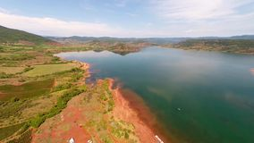 Aerial view of lake stock footage