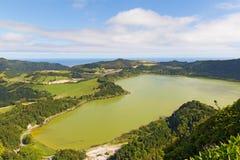 Aerial view on the lake Lagoa das Furnas near Furnas, Sao Miguel, Azores, Portugal. Stock Photography