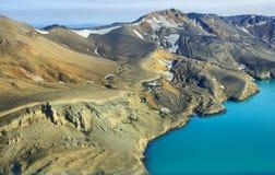 Aerial view of lake Lake Oskjuvat Stock Photos