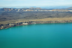 Aerial view of lake Lake Oskjuvat Royalty Free Stock Image