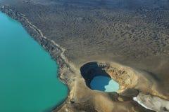 Aerial view of lake Lake Oskjuvatn and lake Viti in Askja region Royalty Free Stock Photography