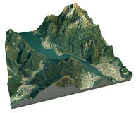 Aerial view of the lake of Lecco and the surrounding area map in 3d Stock Photos