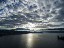 Aerial view,lake Lucerne and Mount Rigi, Switzerland Stock Photography