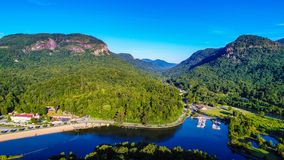 Aerial View of Lake Lure, North Carolina near Chimney Rock State royalty free stock images