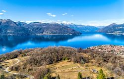 Aerial View of lake Maggiore with Swiss mountains. royalty free stock photo