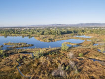 Aerial view of lake natural area Royalty Free Stock Photos