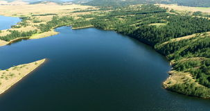 Aerial view of lake near Zlatibor, Serbia stock video footage