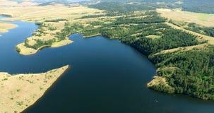Aerial view of lake near Zlatibor, Serbia stock video