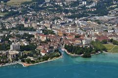 Aerial view of the lake and the old town of Annecy royalty free stock photography