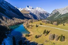 Aerial view of pass Albula in Switzerland Stock Images