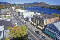 Aerial view of Lake Placid, NY downtown with Adirondack Mountains Stock Images