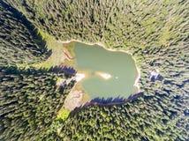 Aerial view of Lake Synevir in Carpathian Mountains in Ukraine Stock Photos