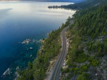 Aerial View of Lake Tahoe shoreline Royalty Free Stock Photo