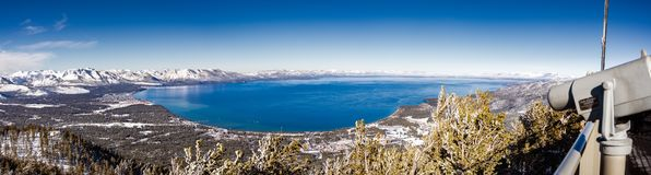Aerial view of Lake Tahoe on a sunny winter day, Sierra mountains, California; far viewing eyepiece on the right side stock photography