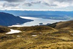 Aerial view of Lake Te Anau Stock Photo