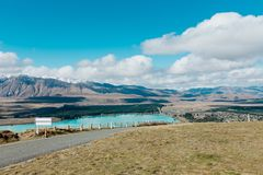 Aerial view of Lake Tekapo from Mount John Observatory in Canter Stock Photos