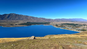 Aerial view of Lake Tekapo from Mount John Observatory in Canterbury Stock Photography