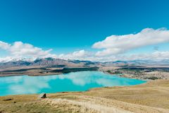Aerial view of Lake Tekapo from Mount John Observatory in Canter Royalty Free Stock Photography