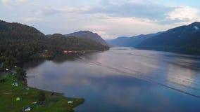 Aerial view of Lake Teletskoe stock footage