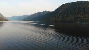 Aerial view of Lake Teletskoe stock video