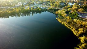 Aerial view on the lake and tree in city royalty free stock photography