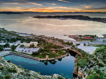 Aerial view from Lake Vouliagmeni during sunset. South Athens, Greece Royalty Free Stock Photography