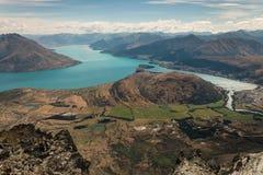Aerial view of lake Wakatipu Stock Photography