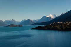 Aerial view of lake Wakatipu Royalty Free Stock Photos