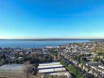 Aerial view of lake Washington. Residential area of Kirkland Royalty Free Stock Photography