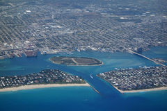 Aerial View of Lake Worth Inlet. Aerial view of the Lake Worth Inlet and Peanut Island, Florida Royalty Free Stock Images