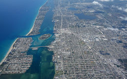 Aerial View of Lake Worth Inlet. Aerial view of the Lake Worth Inlet and Peanut Island, Florida Royalty Free Stock Image