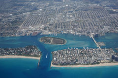Aerial View of Lake Worth Inlet. Aerial view of the Lake Worth Inlet and Peanut Island, Florida, as well as Singer Island and Riviera Beach Royalty Free Stock Images