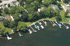 Aerial View Lakefront Waterfront Property Lake Living Water Royalty Free Stock Image