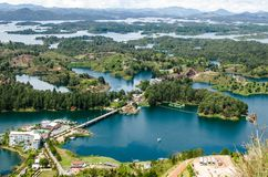 Lakes of Guatape, Colombia. Aerial view of lakes in countryside against mountain in rural Guatape, Colombia, South America royalty free stock photography