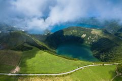 Aerial view of lakes in Sete Cidades volcanic craters on San Miguel island, Azores. Aerial view of lakes in Sete Cidades volcanic craters on San Miguel island stock photos