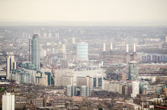 Aerial view of Lambeth and Battersea. View from a tall building across Lambeth and Battersea on the southern banks of the River Thames in London Stock Photo