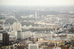 Aerial view of Lambeth, London. View from a tall building across Lambeth and Westminster in Central London.  Charing Cross station, Hungerford Bridge and the Royalty Free Stock Photo