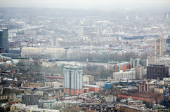 Aerial view of Lambeth and Westminster. View from a tall building looking across the south London borough of Lambeth across the River Thames to Westminster Royalty Free Stock Photography