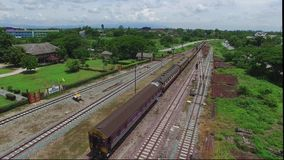 Aerial view Lamphun Train Station. Lamphun Province Thailand stock video